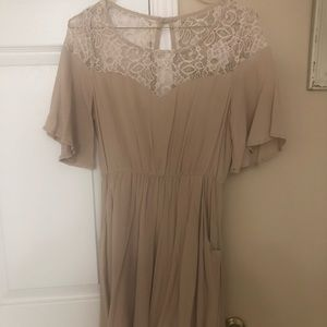 Beige with lace dress